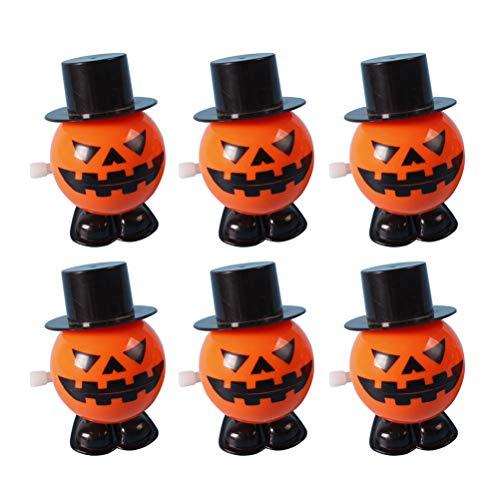 TOYANDONA 6pcs Halloween Skull Bounce Props Toy Jumping Pumpkin Monster Clockwork Gift (Pirate King + Bucktooth + Pumpkin + Eye + Twirling Ghost + Hat Pumpkin, Random -