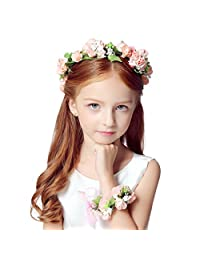 Cereoth Flower Wreath Floral Crown Garland Headband for Wedding with Bracelet