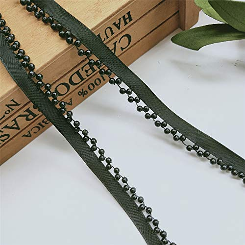 - 2 Yard Pearl Lace Trim Ribbon with Beads Edge Grosgrain Fabric Tape 1cm Width Vintage Style Black Edging Trimmings Fabric Embroidered Applique Sewing Craft Wedding Bridal Dress Clothes Decoration