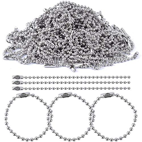 (BronaGrand 100pcs 150mm Long Bead Connector Clasp 2.4 mm Diameter Ball Chains Keychain Tag Key Rings)
