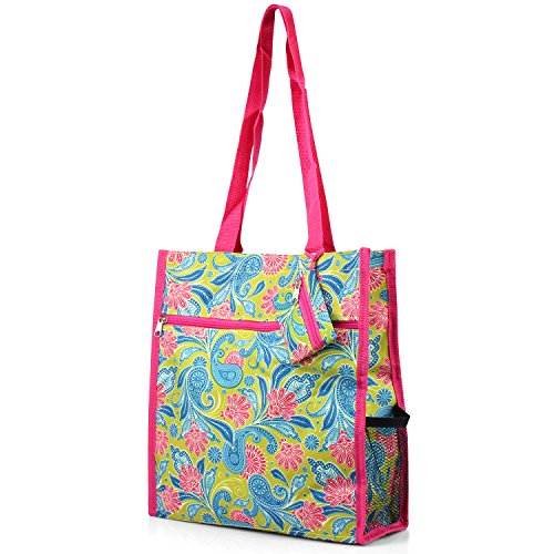 Zodaca Lightweight All Purpose Travel Tote Bag, Green Paisley