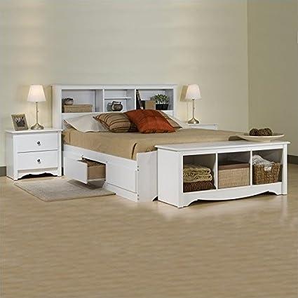 Amazon.com: Prepac Monterey White Full Platform Storage Bed ...