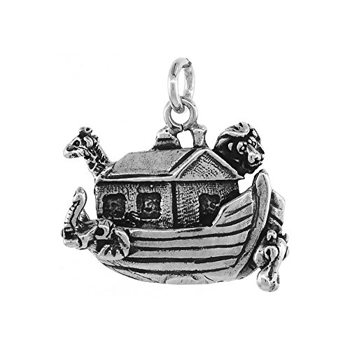 (Sterling Silver Noah's Ark Pendant Antiqued Finish 3/8 inch)