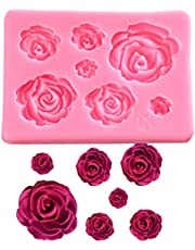 FantasyBear Rose Silicone Mold,Small Soap Clay Chocolate Sugarcraft Baking Tool DIY Cake Silicone Mold for Baby Shower Party Birthday Party Cake Decoration (Small Rose Mold)