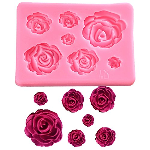 (SaSa Design Rose Silicone Mold,Small Soap Clay Fimo Chocolate Sugarcraft Baking Tool DIY Cake Silicone Mold for Baby Shower Party Birthday Party Cake Decoration (Small Rose Mold))