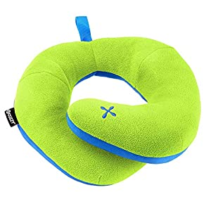 BCOZZY Kids Chin Supporting Travel Pillow- Keeps The Child's Head from Bobbing up and Down in Car Rides- Comfortably Supports The Head, Neck and Chin. A Patented Product. Child Size, Apple-Green