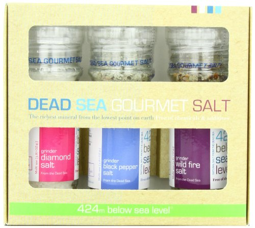 Salt 424 Three Grinder Pack 100% Organic Salts, Diamond, Black Pepper and Wild Fire, 25.11 Ounce