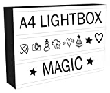 Light Box Cinema LED Sign   All in ONE Marquee Cinematic A4 Lightbox Set with 96 Letters & Number Emoji Lights + USB Cable   Stylish Light Up Box - Perfect Gift for All Occasions, Bars, Photoshoots