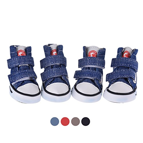 GabeFish Dog Shoes Sneaker Pet Canvas Shoes Chihuahua Puppy Nonslip Boots Sport Anti-Slip Paw Protector Blue Large