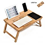 WELLAND Bamboo Laptop Desk Bed Serving Tray with Adjustable Legs & USB Fan