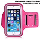 Coeuspow Sports Running Armband Armabnd for iPhone 6S/6 plus (5.5 inch), Running Exercise Gym Sport band with Dual Arm-Size Slots , Water Resistant Sweat Proof + Key pocket Holder (Pink)
