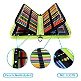 YOUSHARES 160 Slots Pencil Case - Laser PU Leather