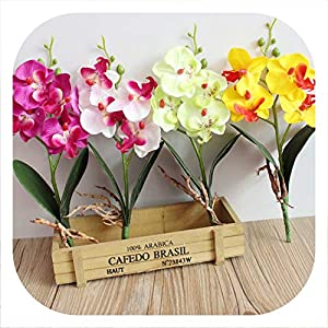 Memoirs- Artificial Flowers Silk Flower Fake Butterfly Orchid with Leaves Phalaenopsis Flores for Wedding Home Decoration 69