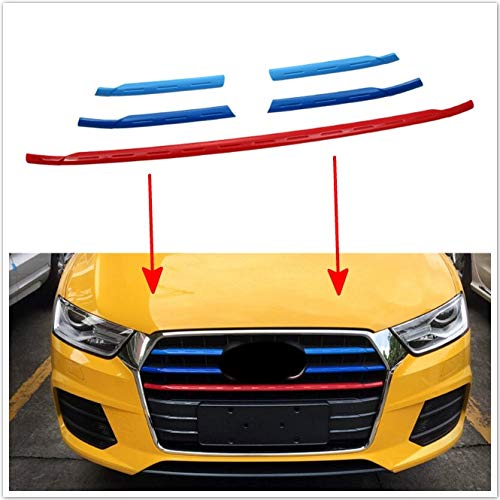 Alina-Shops - 5pcs3 Colors Exterior Car Head Front Center Grill Grid Grille Stripe Decorative Cover Trim For Audi Q3 8U Car-Styling