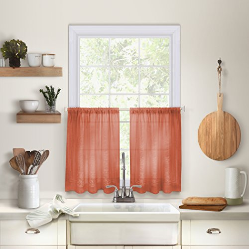 (Elrene Home Fashions 26865775402 Solid Hemstitched Rod Pocket Café/Kitchen Tier Window Curtain, Set of 2, 30