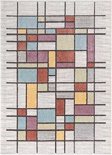 Well Woven Porta Soft Pastel Multi Color Boxes Squares Geometric Area Rug 8×10 7'10″ x 9'10″