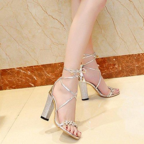 Fisch Schuhe Heels Spitze Party Block Förderung High Große Mund Mode Knöchel Damen SANFASHION Sandalen Offene Gold cIWRqyT66
