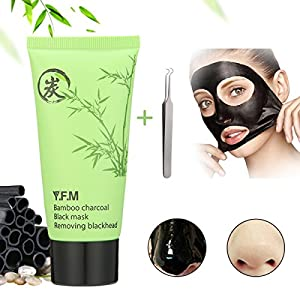 Y.F.M - Bamboo Charcoal Black Mask, Deep Cleansing Mask, Blackhead Facial Mask, Acne Treatment Mask, Blackhead Remover Peel Off Mask for Face Nose with Tweezers