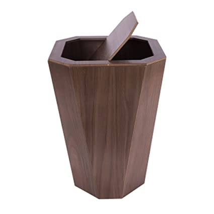 Amazoncom Trash Can Trash Can Clamshell Wooden Trash Household