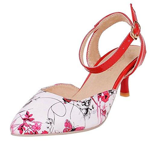 JOJONUNU Mode Moyen Talons Floral Red Femmes Sandales ZUqrwZ5