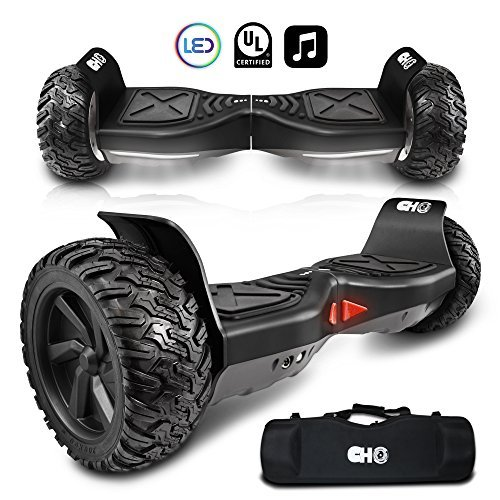 CHO All Terrain Rugged 8.5' Inch Wheels Hoverboard Off-Road Smart Self Balancing Electric Scooter with Bluetooth Speaker LED Lights UL2272 Certified (Black)