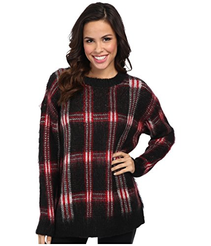 Michael Michael Kors Plaid Crewneck Sweater, P-L, Red Blaze/Black Plaid