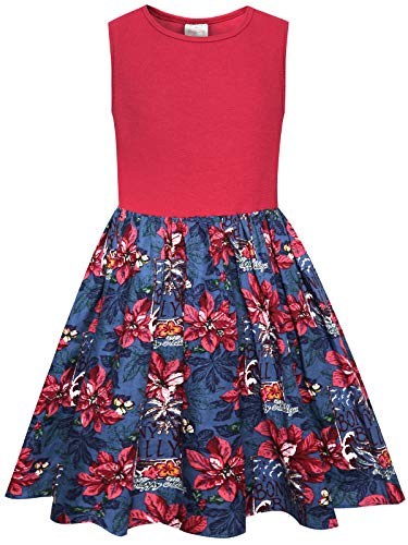 (Bonny Billy Big Girls Poinsettias Print Cotton Christmas Dresses Gifts for Kids 8 10 Yrs Red)