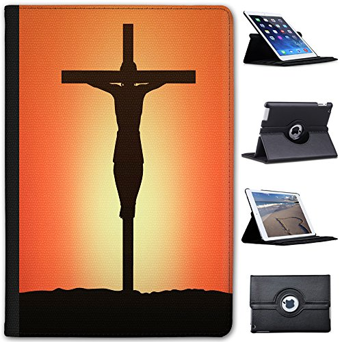 Leather Case for Apple iPad Mini 4 (Will ONLY fit The iPad Mini 4) - Crucifix of Christ at Sunset