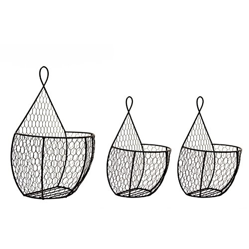 Useful UH-WB23 Triple Hanging Display Storage Baskets - Trio of Wall Mount Baskets 1 Large 2 Small Wall Hanging Units for Flowers, Fruits and Veggies, Decorations, and More (Hanging Basket Wall)