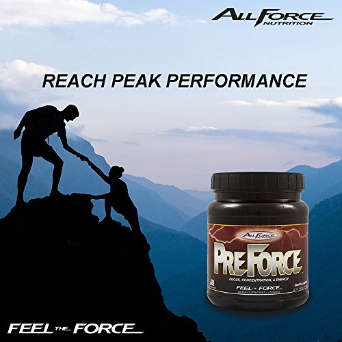 PreForce by All Force Nutrition - Low Stim Preworkout Supplement - Long Lasting Energy With No Jitters and No Crash! - Delicious Tropical Berry Flavor! Mixes Easily With Water or Juice. (28 Servings)