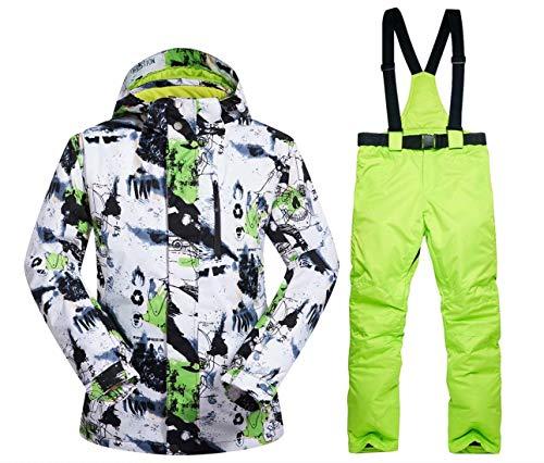OLEK Men's Waterproof Ski Snowboarding Jacket Windproof Snow Snowboard Coat and Pants Set (Mens Snowboard Pants And Jacket)