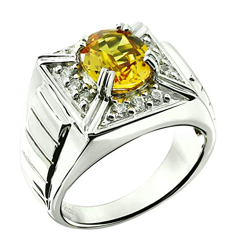 (RB Gems Sterling Silver 925 MEN's Ring GENUINE GEMSTONE Oval 10x8 mm RHODIUM-PLATED Finish Band Style (10, yellow-sapphire))