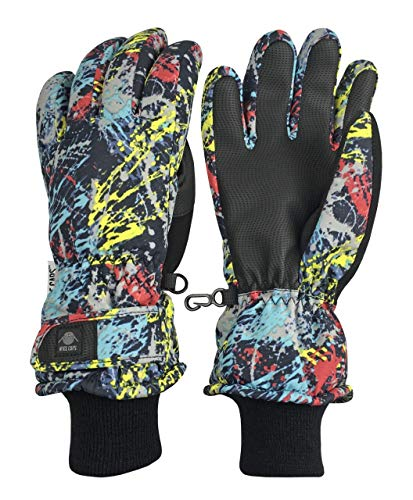N'Ice Caps Kids Scroll Print Waterproof Thinsulate Insulated Winter Snow Gloves (Paint Splash, 13-15 Years)