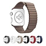 Apple Watch Band 38mm,SUNKONG® Leather Loop Band With Strong Magnetic Closure For All Apple Watch Sport And Edition (38mm brown)