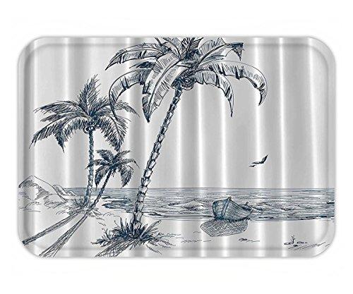 Beshowere Doormat Nautical PalmBeach Tropical Decor Shadow Wooden Boat Ocean WaveRockDesert nd Sketch Pencil Drawing Lovely Design Navy Woven Fabric Extra Long.jpg