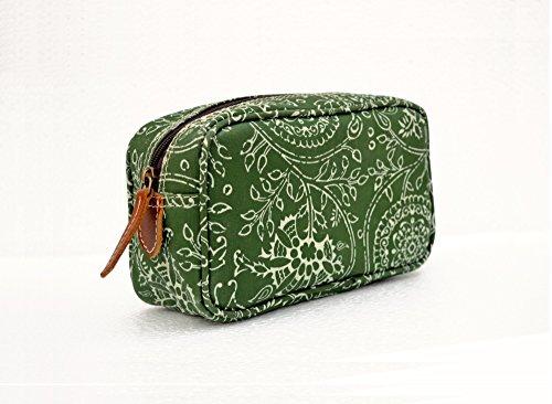 Grün Kulturbeutel, Floral Drucken, Kalamkari, laminiert Tasche, Kunstlederbesatz, Make Up oder Kosmetik Tasche, Utility Pouch.