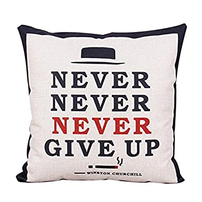 FairyTeller Never Give Up Decorative Cushion Cover Home Decor Pillow Case Vintage Christmas Sofa Bed 45Cm Almofada Funda Cojin Quality First