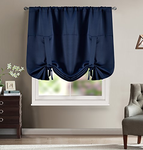 BHU Solid Color Rod Pocket Blackout Beige Curtains Tie Up Shade for Small Window Beige 46W x 63L One Drape