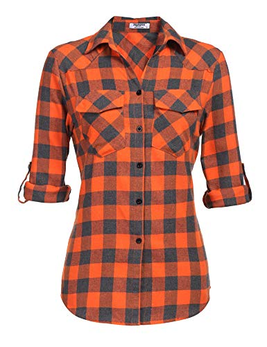 Zeagoo Womens Tartan Plaid Flannel Shirts, Roll up Sleeve Casual Boyfriend Button Down Gingham Checkered Shirt, Orange, XXX-Large