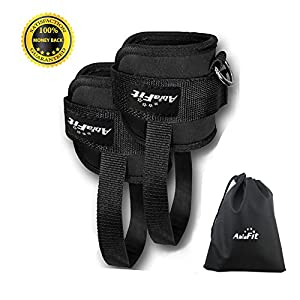 AbraFit Premium Ankle Straps for Cable Machines, Ab, Leg & Glute Exercises, Improved Wider and Longer, Durable &Lightweight, Free Carry Bag Included (Pair)