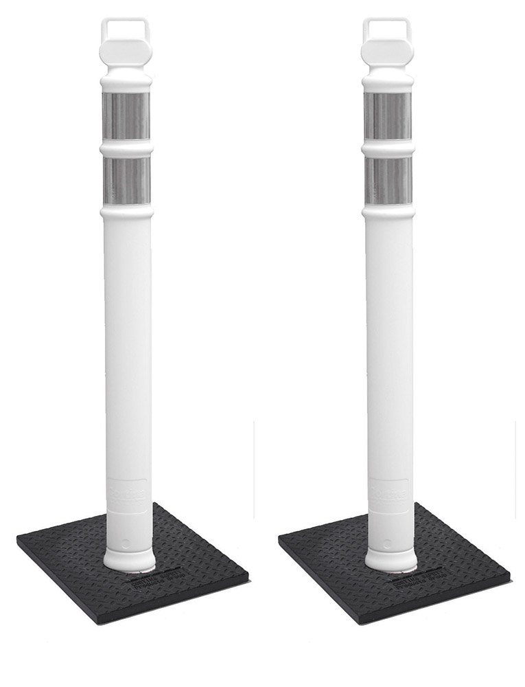Cortina EZ Grab Delineator 45'' Post, 3'' Hip Collars with 10 lb Base, 03-747WRBC-2, White, 2 Pack by Cortina