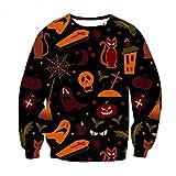 PEIZH Women Men Halloween Horror Tops 3D Print Party Long Sleeve Plus Size Pullover Fashion O-Neck Sweatshirt D Black