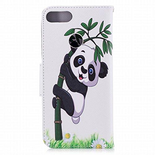 Ougger Hülle Huawei P Smart Schutzhülle, Leder Tasche Beutel Stehen Magnetisch Beutel Flip Cover Weich Silikon Schale Handyhüllen Huawei P Smart mit ID Kartensteckplatz, Netter Panda