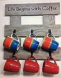 Pallet Wood''Life Begins with Coffee'' Rack