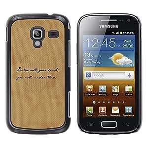 Caucho caso de Shell duro de la cubierta de accesorios de protección BY RAYDREAMMM - Samsung Galaxy Ace 2 I8160 Ace II X S7560M - Handwriting Heart Love Brown Paper Coffee