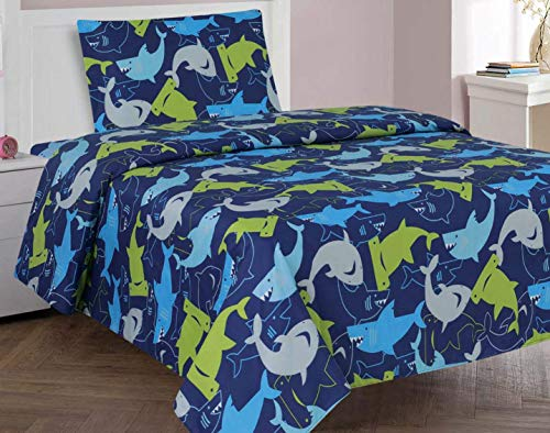 (Twin 3 Pieces Printed Kids Sheets Bed Cover with Pillow Case with Modern Designs (SHARK))