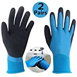 Waterproof Work Gloves 2 Pairs/Pack, Double Coating Latex Grip Comfortable Safety Gloves, Ideal for Kitchen Fishing Garden Watering Car Cleaning Multipurpose Use.
