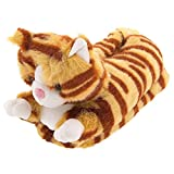 Orange Tabby Cat Animal Slippers for Women and Men Large
