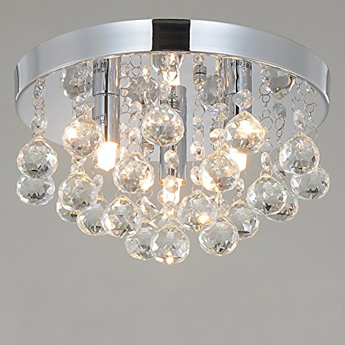 Rh Ruivast Flush Mount Ceiling Light Crystal Chandeliers Lighting 3 Light Fixture Mini Style