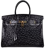 Cherish Kiss Luxury Women's Genuine Leather Embossed Ostrich Top Handle Padlock Handbags (35CM Ostrich, Black)